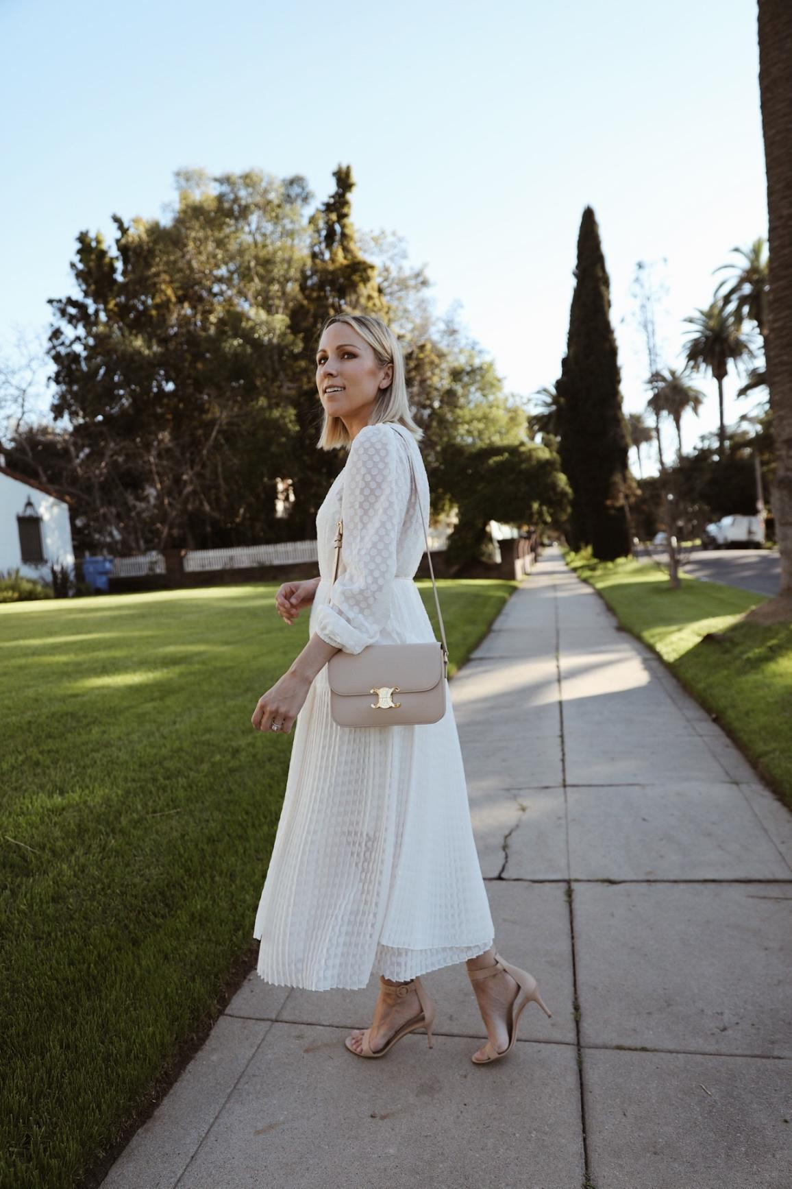 damsel in dior blogger dress shoes bag midi dress white dress sandals spring outfits