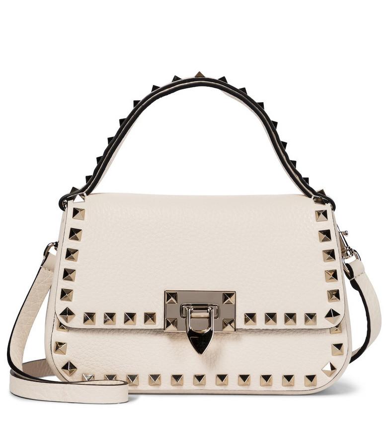 Valentino Garavani Rockstud Small leather shoulder bag in white