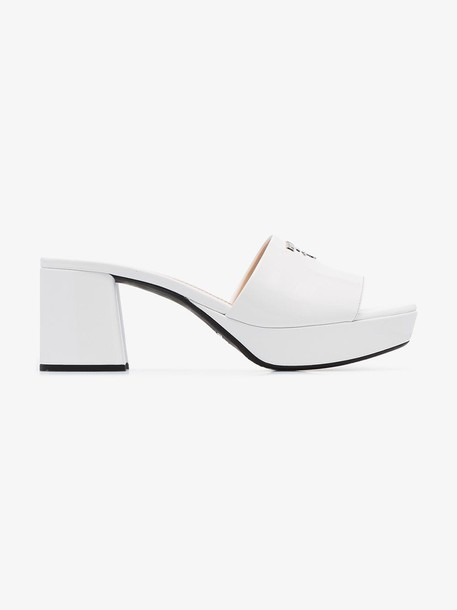 Prada White platform 65 patent leather mules