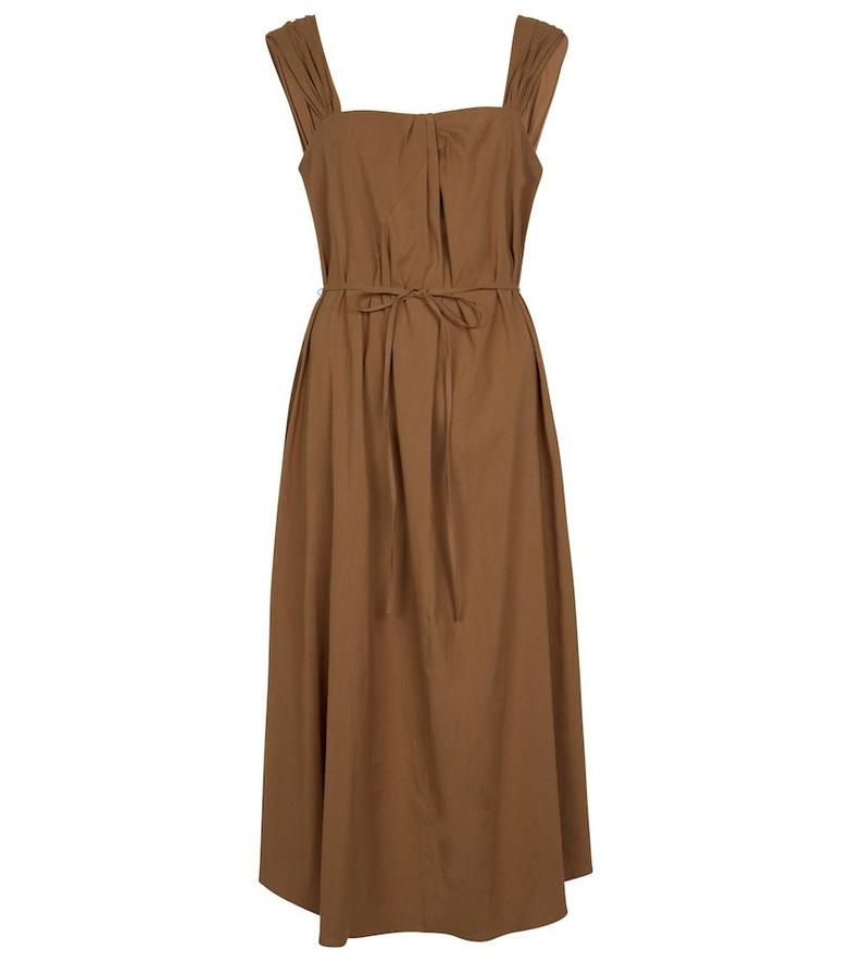 Vince Stretch linen-blend midi dress in brown