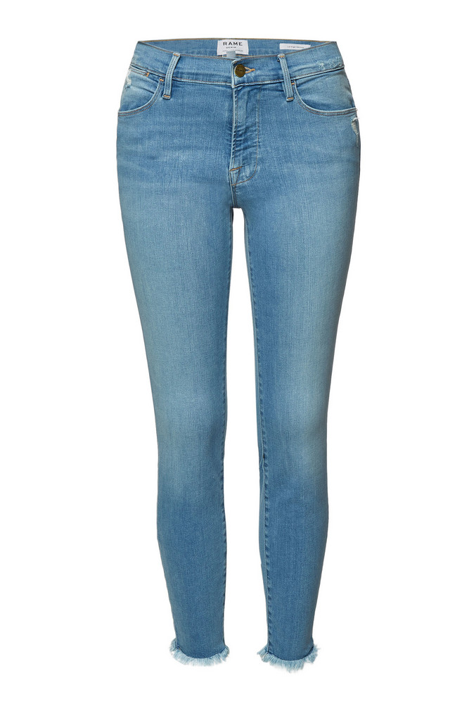 Frame Denim Le High Skinny Cropped Jeans  in blue