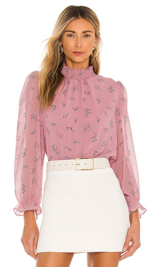 1. STATE Smocked Neck Top in Pink in rose