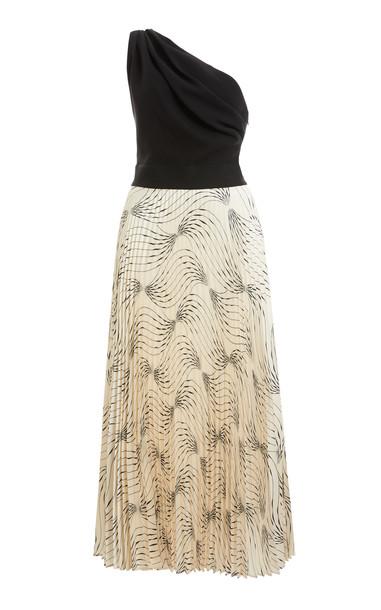 Victoria Victoria Beckham Printed Twill One-Shoulder Midi Dress in print