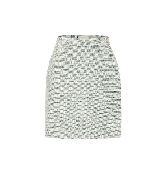 Gucci Cotton-blend tweed miniskirt in green