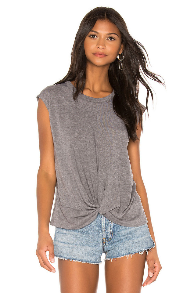 Chaser Twist Front Hi Lo Tee in gray