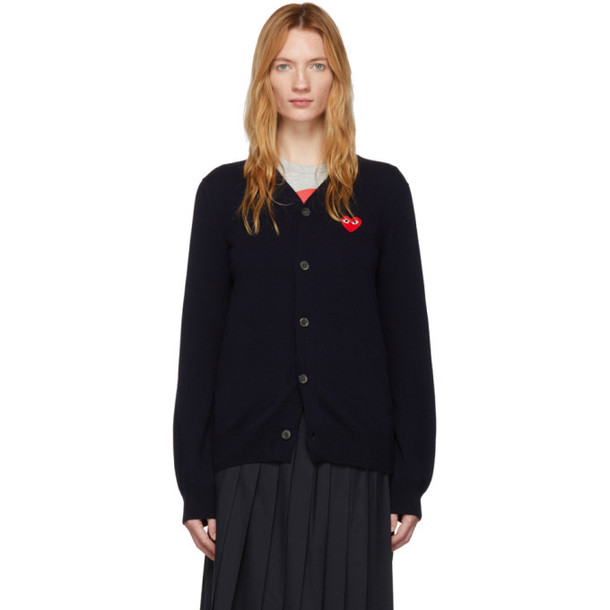 Comme des Garcons Play Navy Wool Mens Fit Heart Patch V-Neck Cardigan