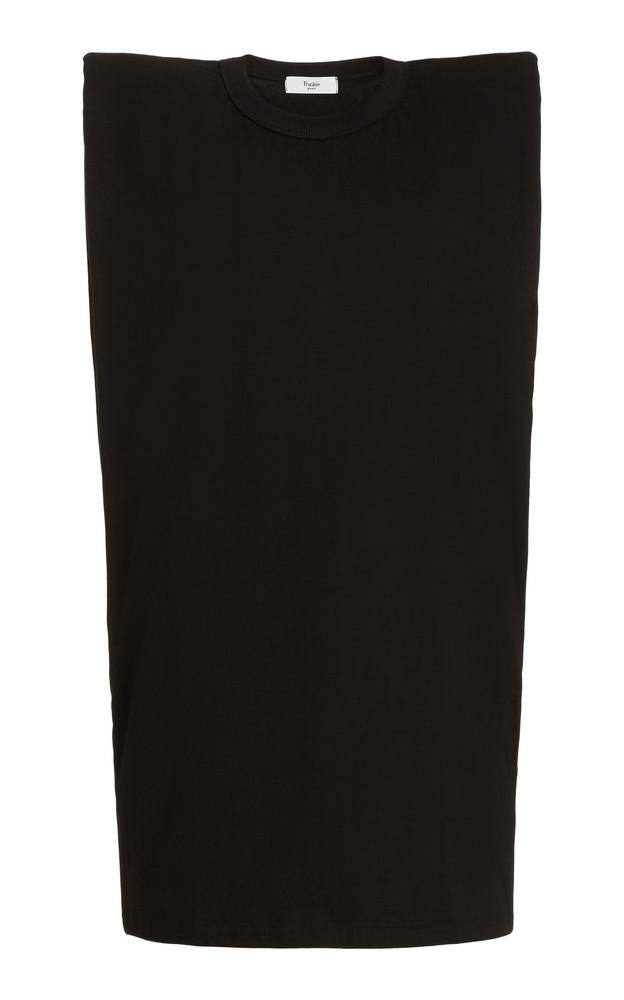 The Frankie Shop Tina Padded-Shoulder Cotton T-Shirt Dress in black
