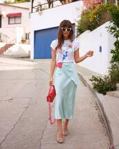top,white t-shirt,midi skirt,blue skirt,satin,sandals,pink bag,skirt,light blue,rocky barnes,instagram,blogger,t-shirt,spring outfits