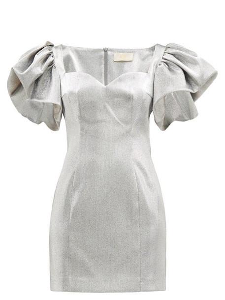 Sara Battaglia - Puffed Sleeve Metallic Mini Dress - Womens - Silver