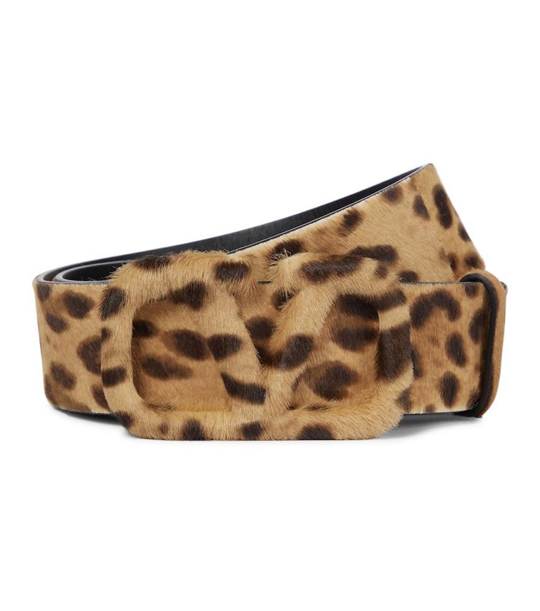Valentino Garavani VLOGO leopard-print calf hair belt in brown