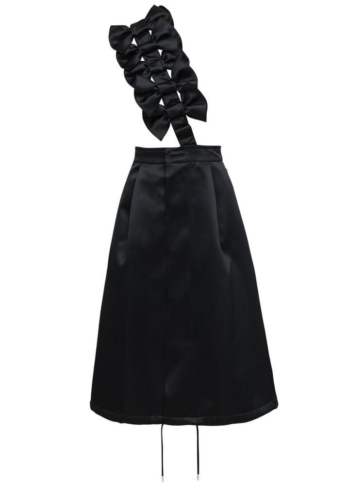 NOIR KEI NINOMIYA Satin Midi Skirt W/ Bow Suspender in black