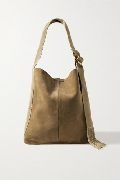 Isabel Marant - Bakoo Canvas And Leather-trimmed Suede Shoulder Bag - Mushroom
