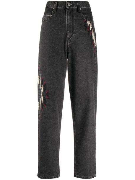 Isabel Marant Étoile embroidered tapered jeans in black
