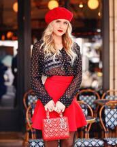 skirt,mini skirt,red skirt,high waisted,black shirt,polka dots,bra,handbag,beret