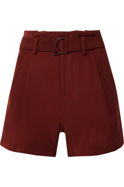 Vince - Belted Pleated Crepe Shorts - Burgundy