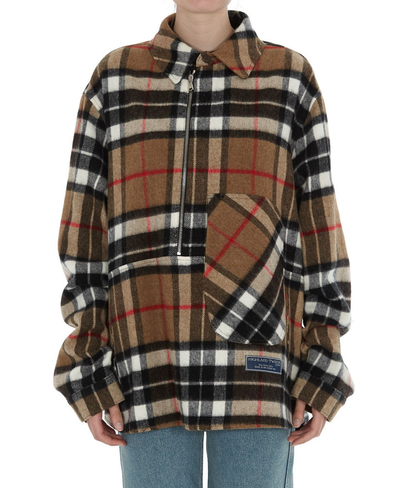 We11 Done Unisex Plaid Shirt in camel