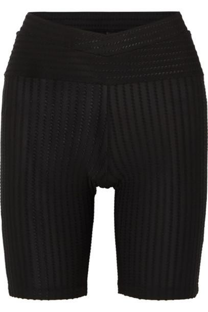 ELSE - Biker Flocked Stretch-jersey Shorts - Black