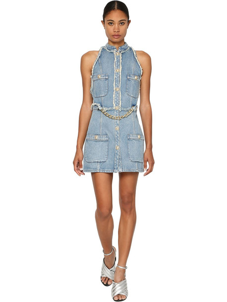 BALMAIN Cotton Denim Mini Dress W/ Chain Detail in blue