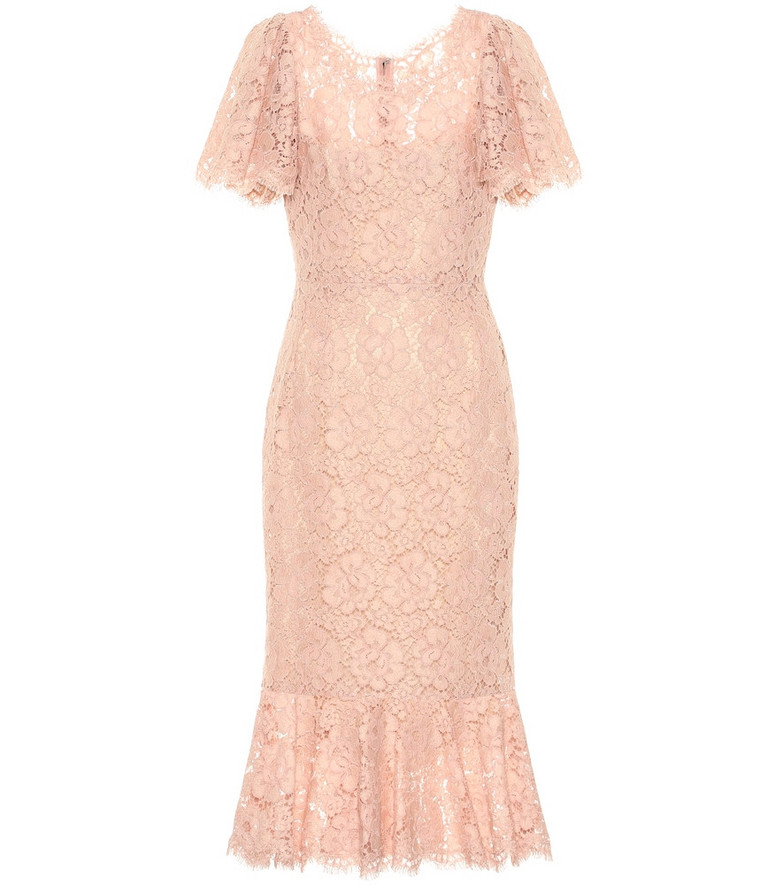 Dolce & Gabbana Lace midi dress in pink