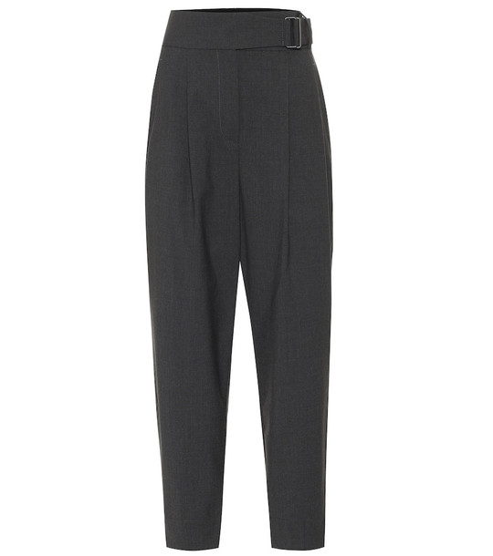 Brunello Cucinelli High-rise wool-blend pants in grey