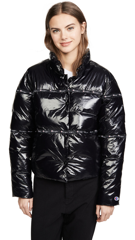 Champion Premium Reverse Weave Puff Jacket in black