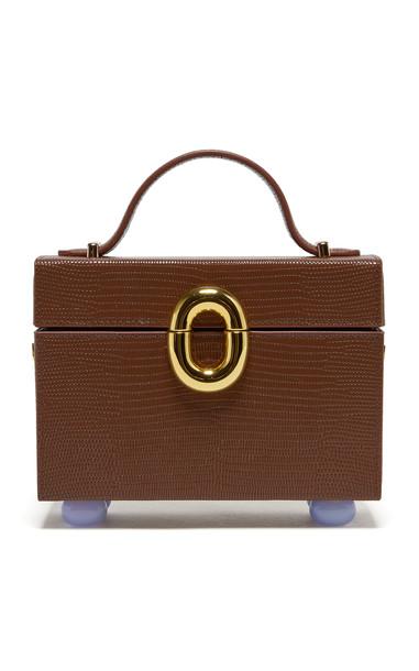 Lizzie Fortunato Cinema Box Lizard-Effect Leather Top Handle Bag in brown