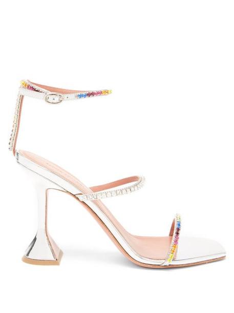 Amina Muaddi - Gilda Crystal-embellished Leather Sandals - Womens - Silver Multi