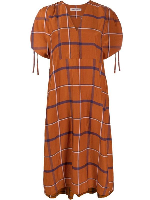 Henrik Vibskov check-print dress in orange