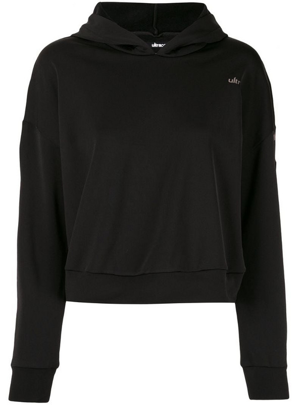 Ultracor cropped logo hoodie in black