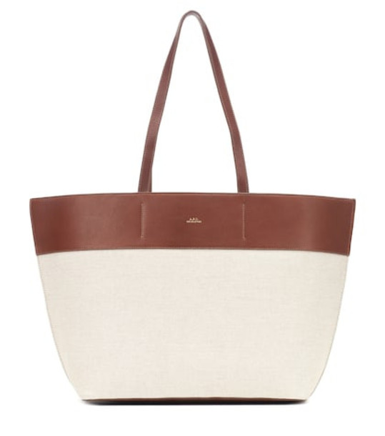 A.P.C. Totally leather-trimmed canvas tote in white