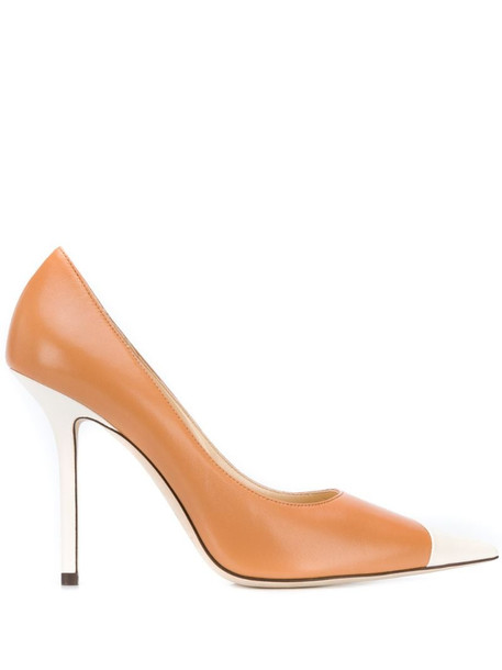 Jimmy Choo Love 100mm contrasting pumps in white