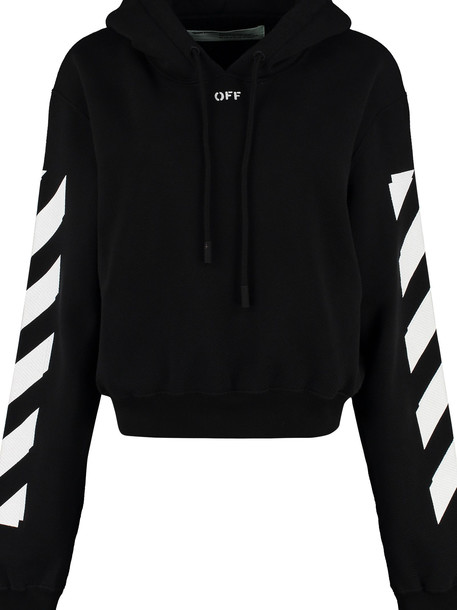Off-White Cotton Hoodie in black