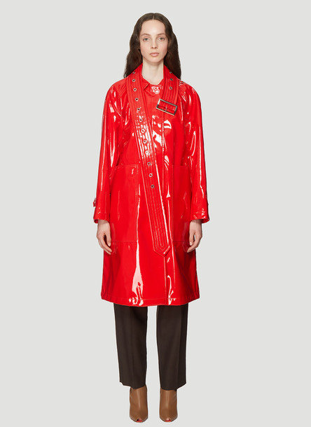 Burberry Laminated Belt Detail Coat in Red size UK - 08