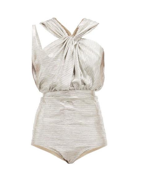 A.w.a.k.e. Mode - Oyster Twist Front Bodysuit - Womens - Silver
