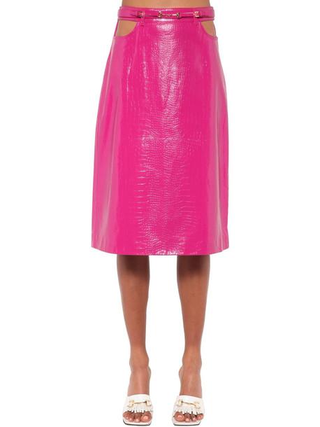 DODO BAR OR Perla Leather Midi Skirt W/ Cutouts in fuchsia