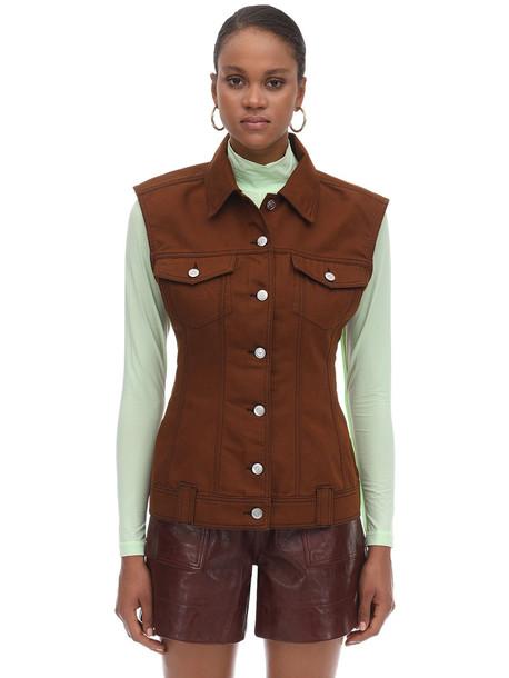GANNI Cotton Denim Vest in brown
