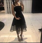 dress,black dress,midi dress,black,midi,strapless,graduation dress,formal dress,semiformal dress