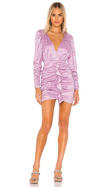 For Love & Lemons Fiji Cross Front Mini Dress in Purple