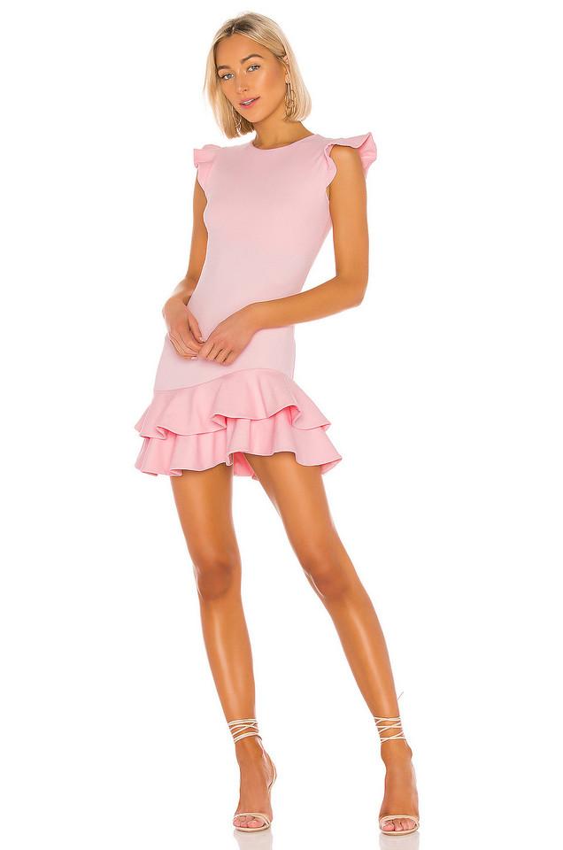 Susana Monaco Sleeveless Ruffle Hem Dress in pink