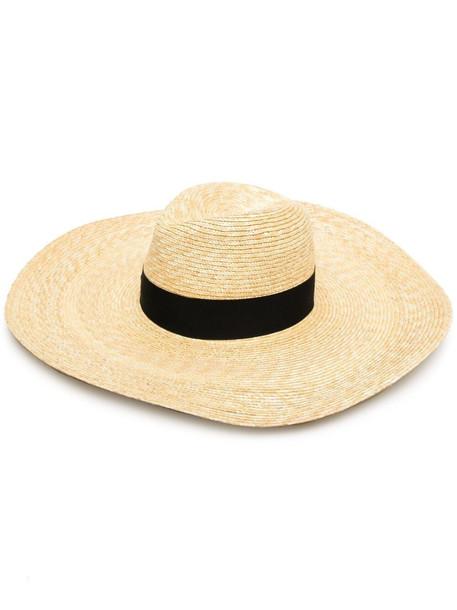 Borsalino ribbon-trim sun hat - 7140 BEIGE