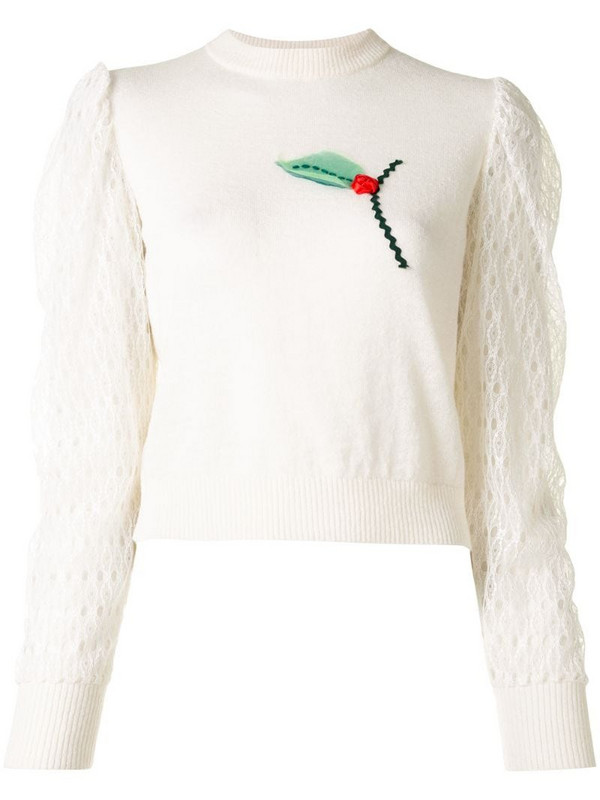 Onefifteen floral embroidery knit jumper in white