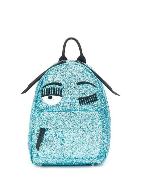 Chiara Ferragni wink embroidered glitter backpack in blue