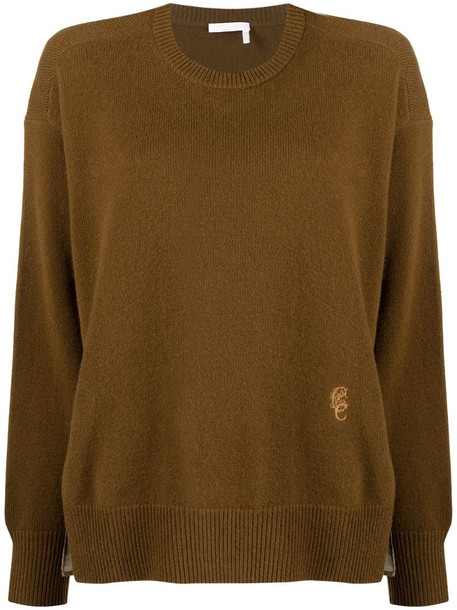 Chloé logo panel knitted jumper in brown