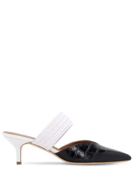 MALONE SOULIERS 45mm Croc Embossed Leather Mules in black / white