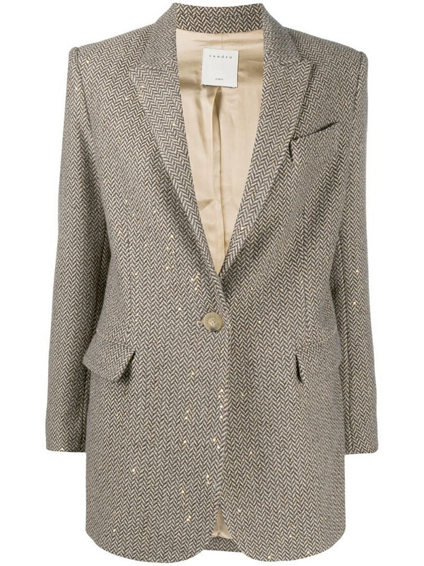 Sandro Paris chevron pattern blazer in neutrals