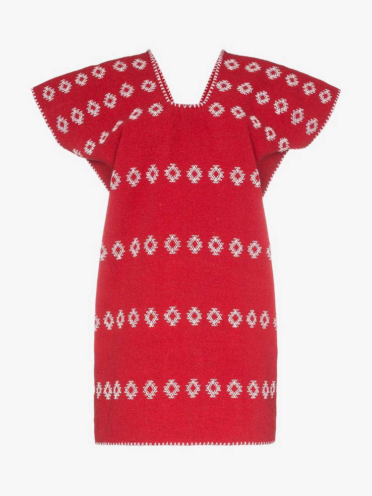 Pippa Holt embroidered kaftan mini-dress in red