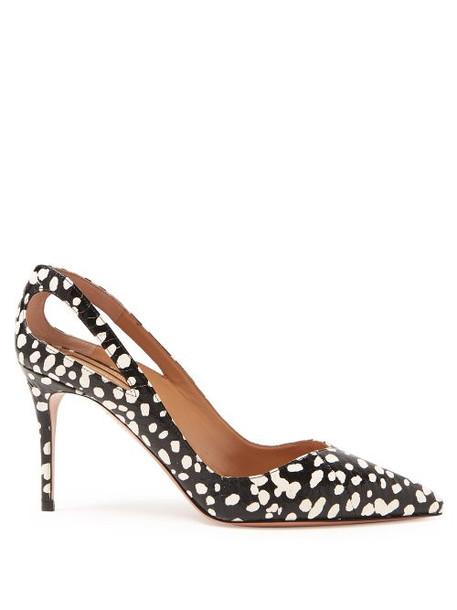 pumps white print black shoes