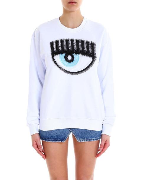 Chiara Ferragni Sweatshirt Embroidered Logo in white
