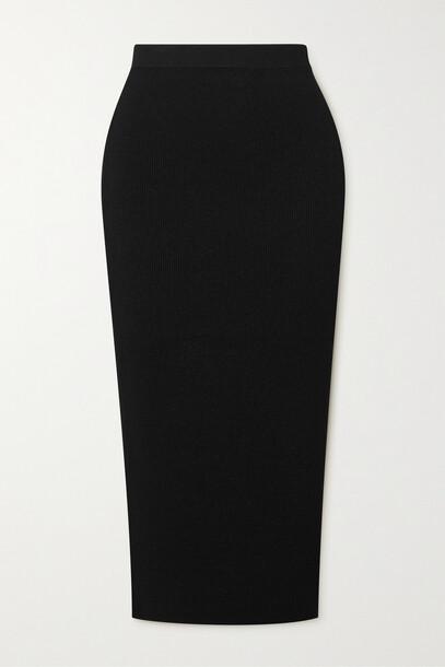 Theory - Ribbed-knit Midi Skirt - Black