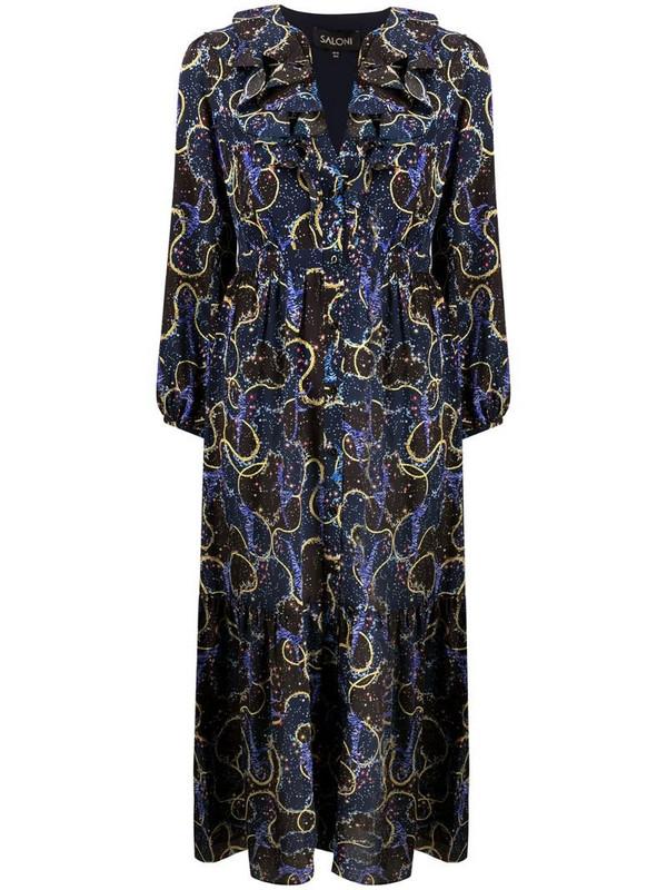 Saloni mixed print flared dress in blue